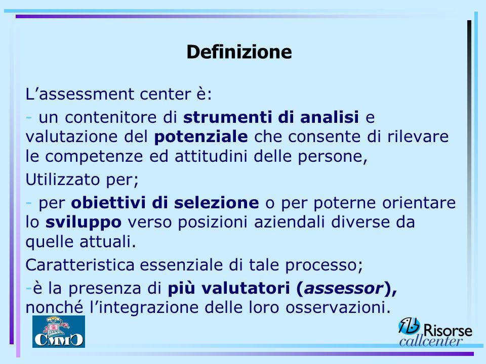 Lassessment center è: - un contenitore di strumenti di analisi e valutazione del potenziale che consente di rilevare le competenze ed attitudini delle