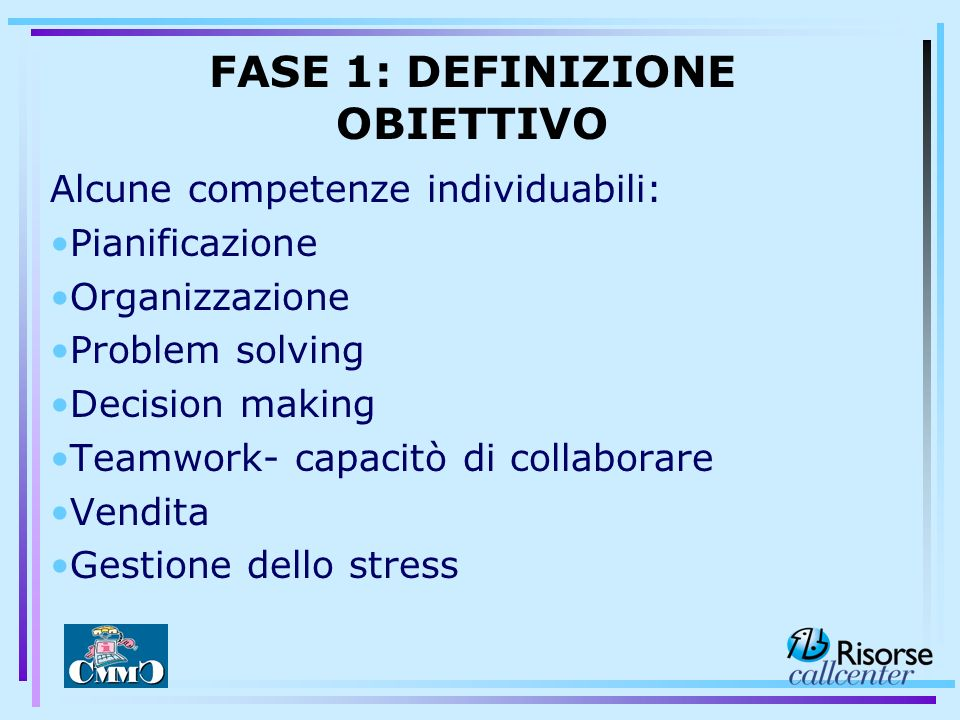 Alcune competenze individuabili: Pianificazione Organizzazione Problem solving Decision making Teamwork- capacitò di collaborare Vendita Gestione dell