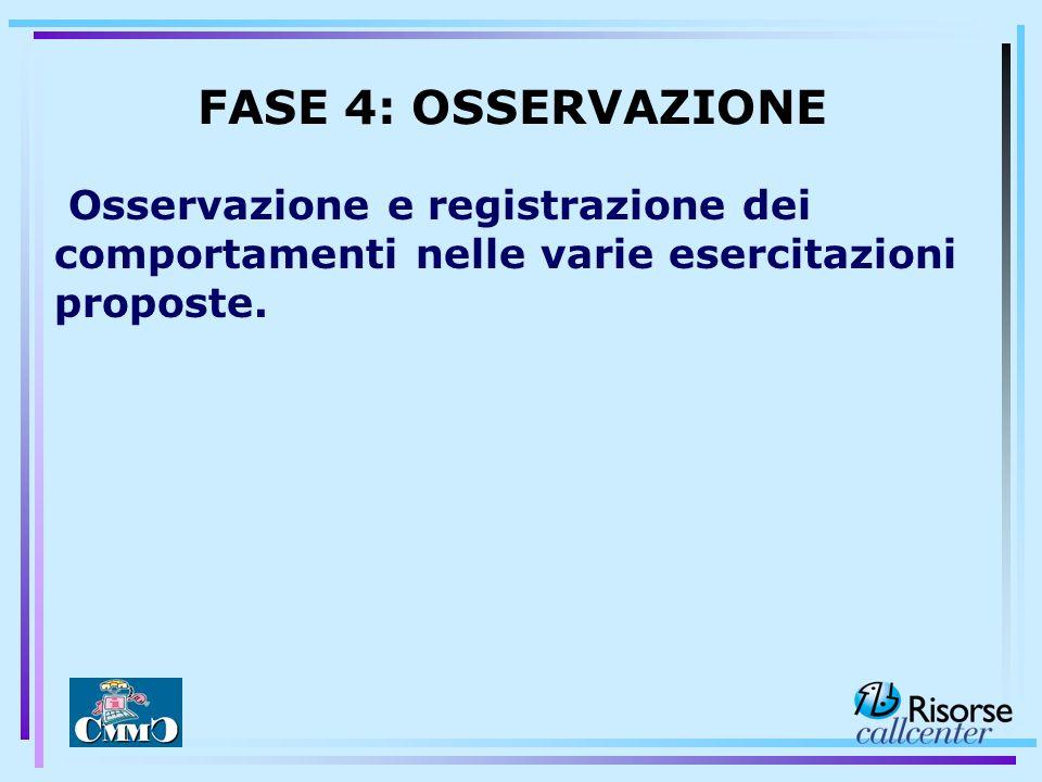 Osservazione e registrazione dei comportamenti nelle varie esercitazioni proposte. FASE 4: OSSERVAZIONE