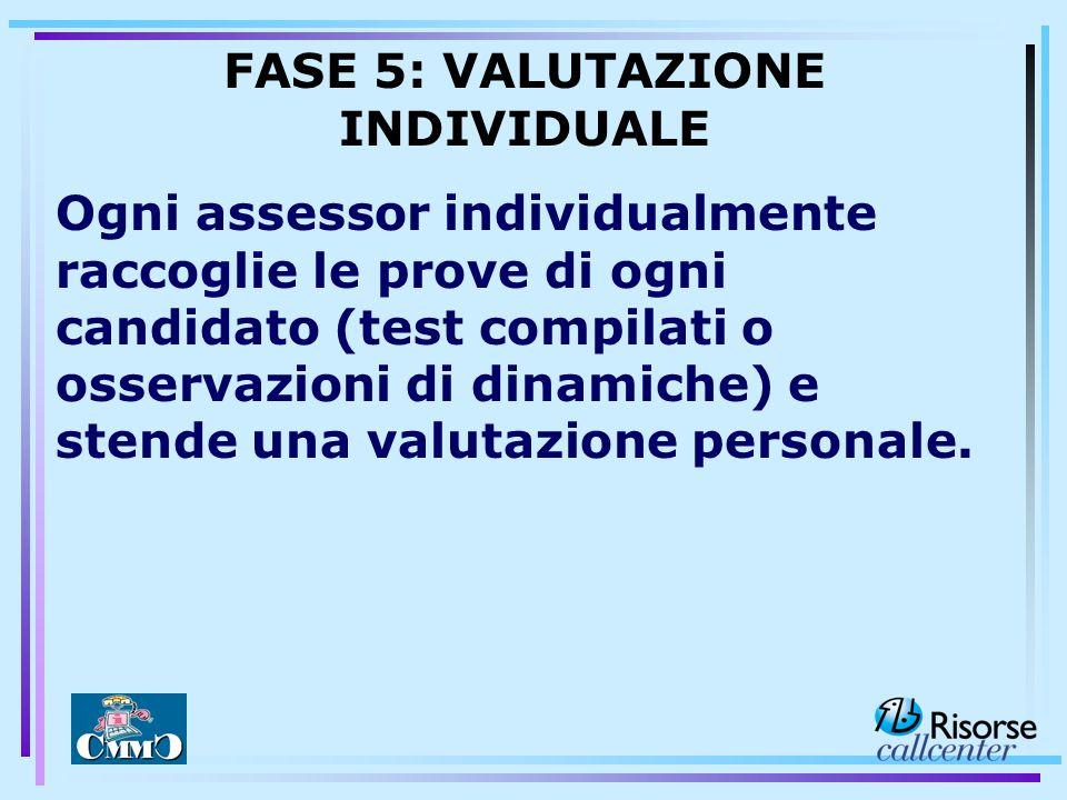 Ogni assessor individualmente raccoglie le prove di ogni candidato (test compilati o osservazioni di dinamiche) e stende una valutazione personale. FA