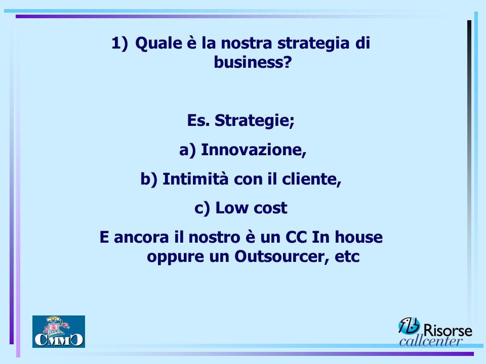 1)Quale è la nostra strategia di business? Es. Strategie; a) Innovazione, b) Intimità con il cliente, c) Low cost E ancora il nostro è un CC In house