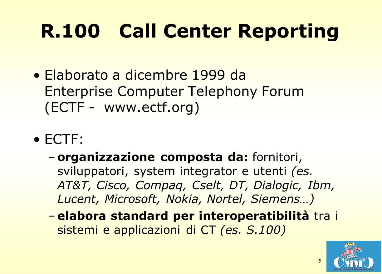 5 R.100 Call Center Reporting Elaborato a dicembre 1999 da Enterprise Computer Telephony Forum (ECTF - www.ectf.org) ECTF: –organizzazione composta da: fornitori, sviluppatori, system integrator e utenti (es.