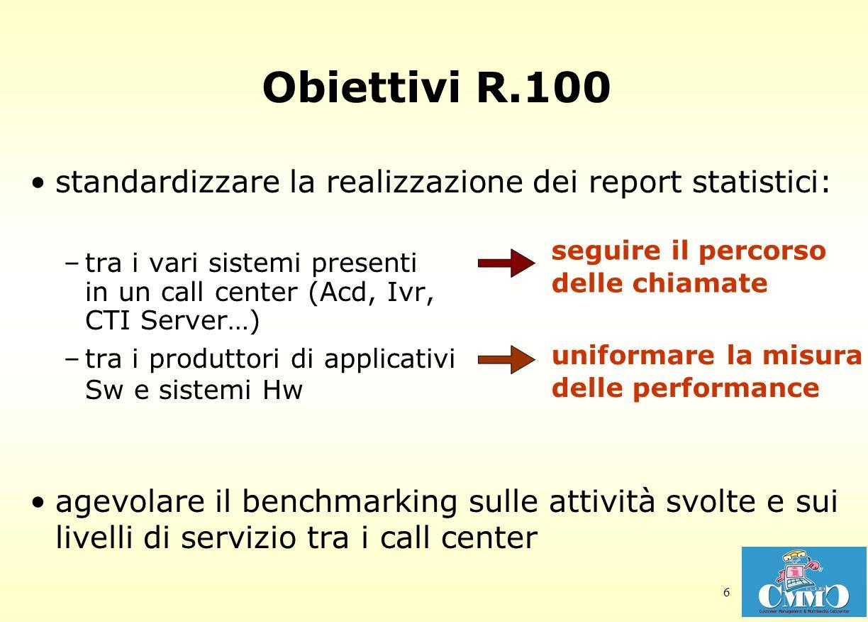 6 Obiettivi R.100 standardizzare la realizzazione dei report statistici: –tra i vari sistemi presenti in un call center (Acd, Ivr, CTI Server…) –tra i