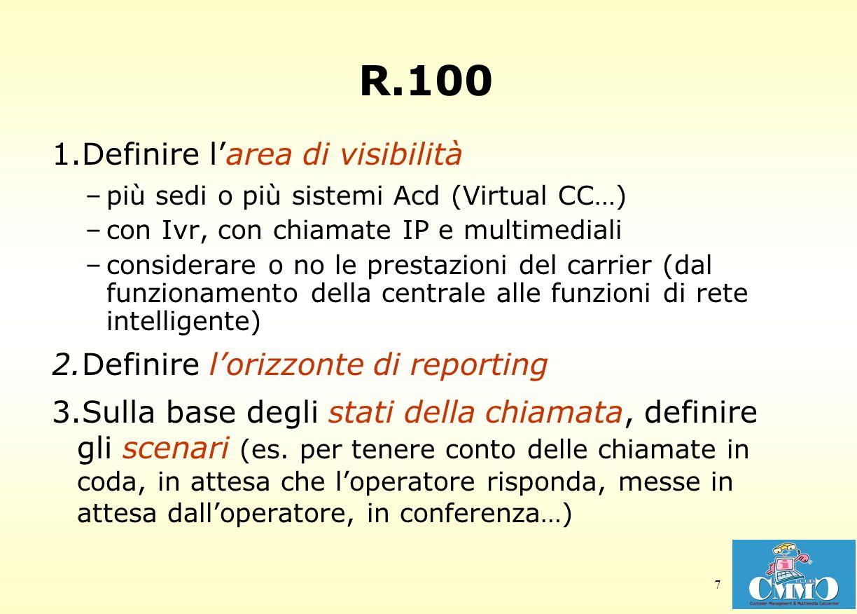 7 R.100 1.Definire larea di visibilità –più sedi o più sistemi Acd (Virtual CC…) –con Ivr, con chiamate IP e multimediali –considerare o no le prestazioni del carrier (dal funzionamento della centrale alle funzioni di rete intelligente) 2.Definire lorizzonte di reporting 3.Sulla base degli stati della chiamata, definire gli scenari (es.