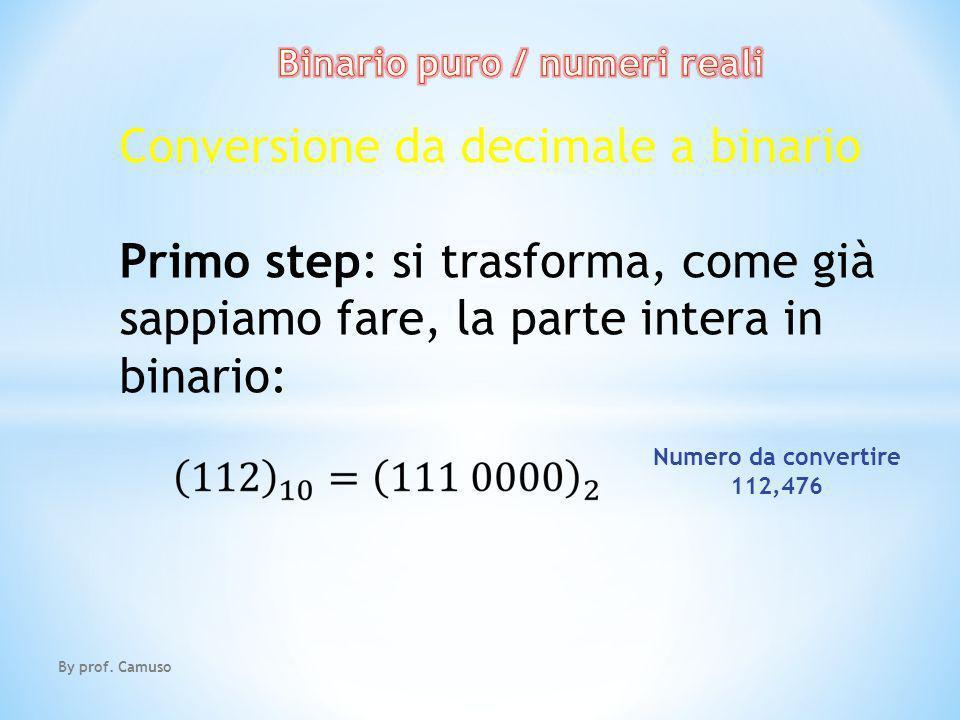 By prof. Camuso Conversione da decimale a binario Primo step: si trasforma, come già sappiamo fare, la parte intera in binario: Numero da convertire 1