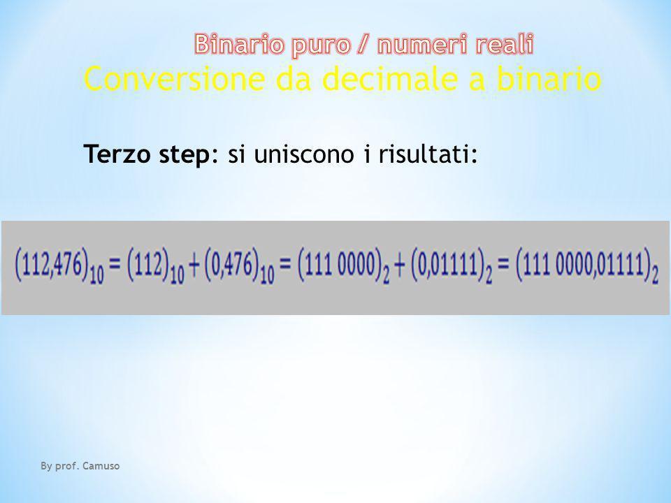 By prof. Camuso Conversione da decimale a binario Terzo step: si uniscono i risultati: