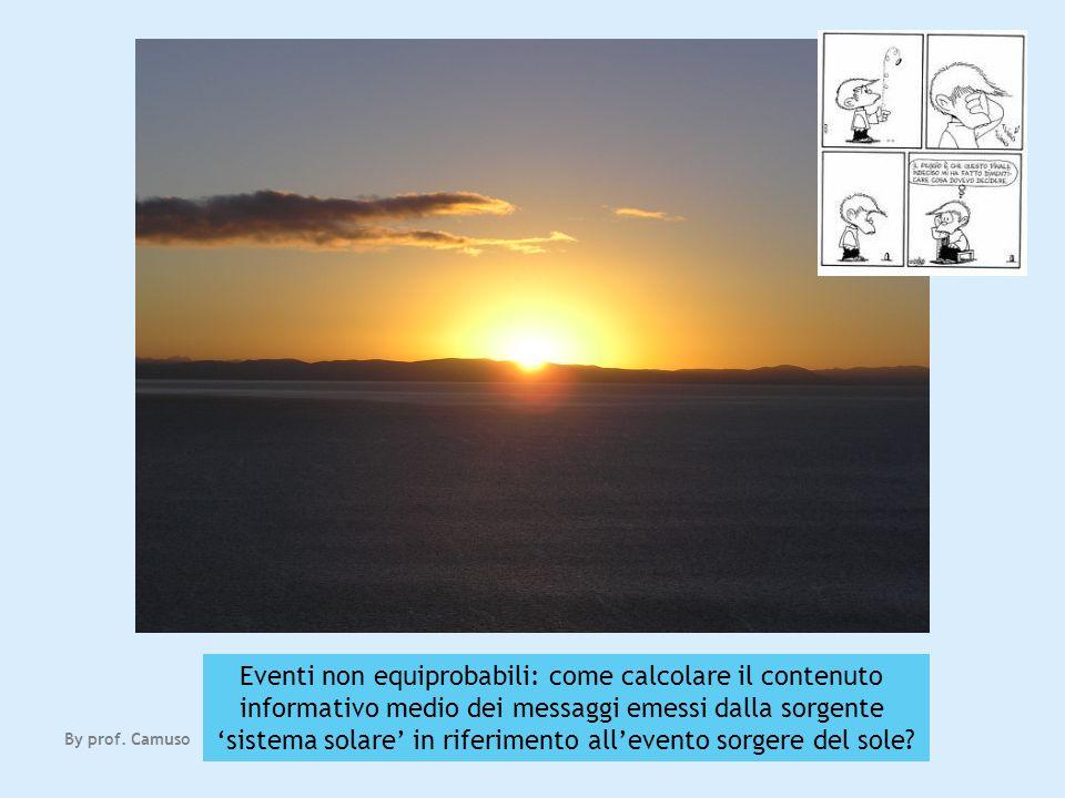 Eventi non equiprobabili: come calcolare il contenuto informativo medio dei messaggi emessi dalla sorgente sistema solare in riferimento allevento sor