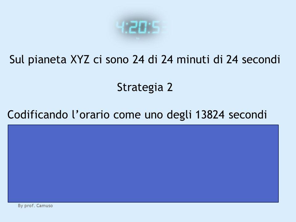 By prof. Camuso Sul pianeta XYZ ci sono 24 di 24 minuti di 24 secondi Strategia 2 Codificando lorario come uno degli 13824 secondi servono 14 (uno in
