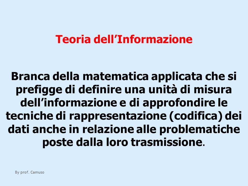 Teoria dellInformazione Branca della matematica applicata che si prefigge di definire una unità di misura dellinformazione e di approfondire le tecnic