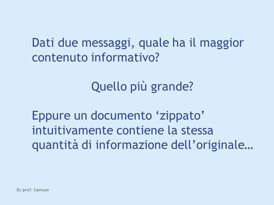 Dati due messaggi, quale ha il maggior contenuto informativo? Quello più grande? Eppure un documento zippato intuitivamente contiene la stessa quantit