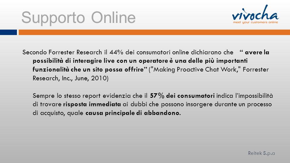 Supporto Online Secondo Forrester Research il 44% dei consumatori online dichiarano che avere la possibilità di interagire live con un operatore è una