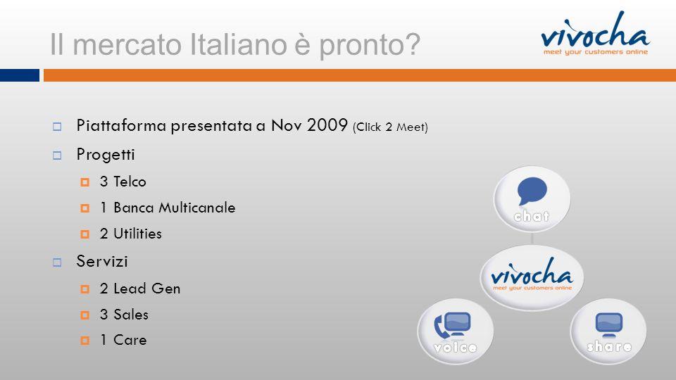 Il mercato Italiano è pronto? Piattaforma presentata a Nov 2009 (Click 2 Meet) Progetti 3 Telco 1 Banca Multicanale 2 Utilities Servizi 2 Lead Gen 3 S