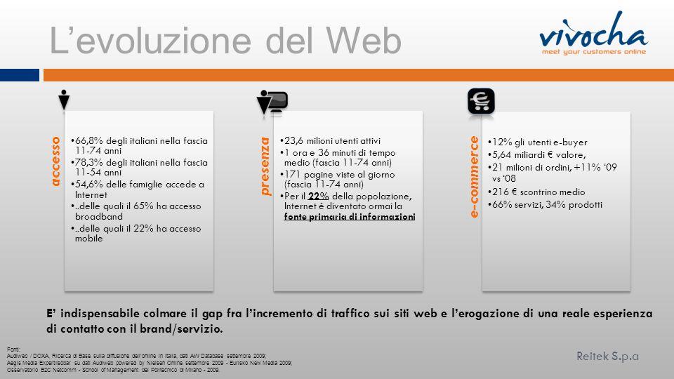 Levoluzione del Web Fonti: Audiweb / DOXA, Ricerca di Base sulla diffusione dell'online in Italia, dati AW Database settembre 2009; Aegis Media Expert