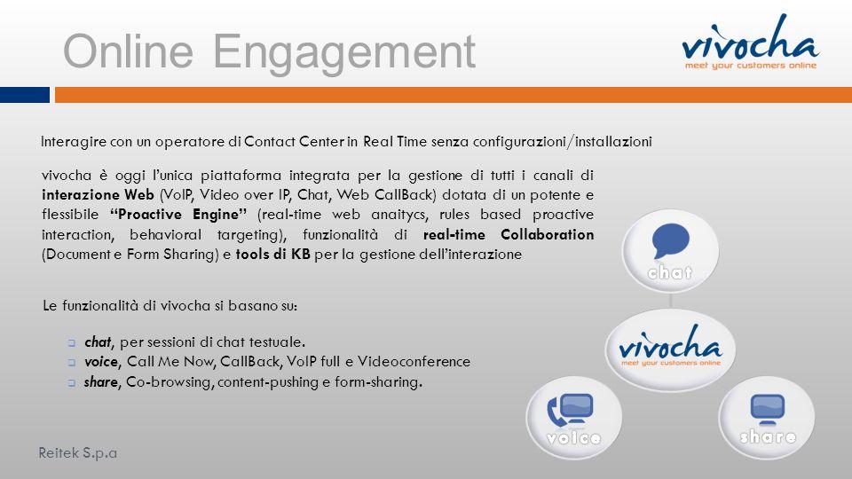 Online Engagement Interagire con un operatore di Contact Center in Real Time senza configurazioni/installazioni Le funzionalità di vivocha si basano s