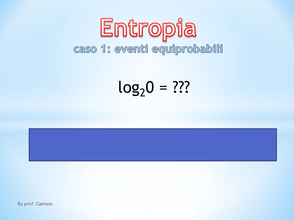 By prof. Camuso log 2 0 = IMPOSSIBILE!