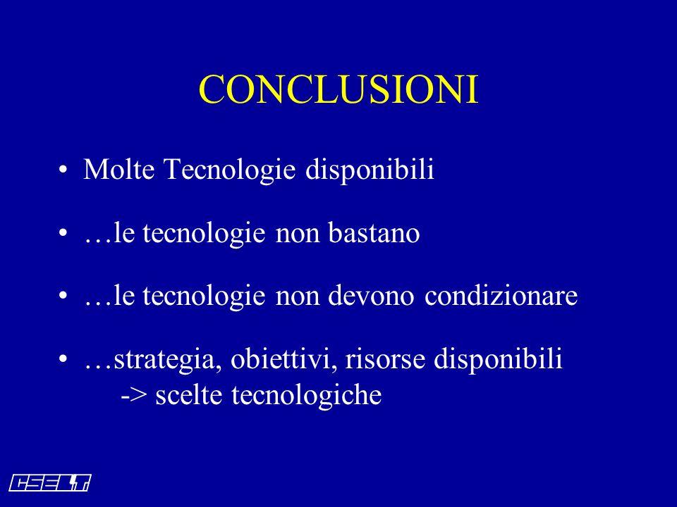 CONCLUSIONI Molte Tecnologie disponibili …le tecnologie non bastano …le tecnologie non devono condizionare …strategia, obiettivi, risorse disponibili -> scelte tecnologiche