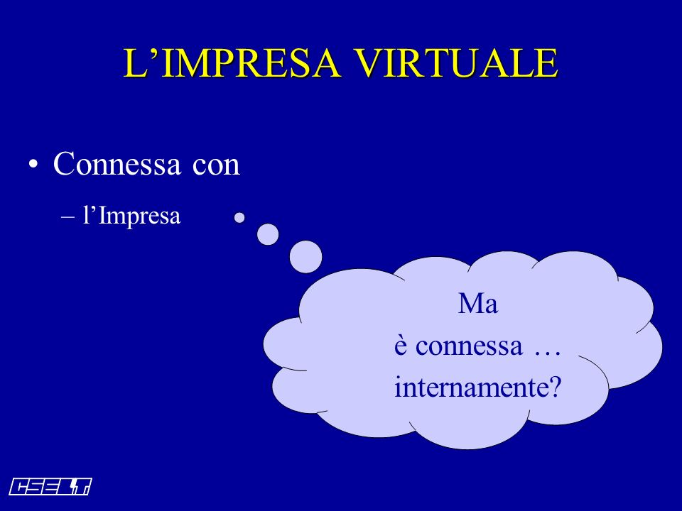 LIMPRESA VIRTUALE Connessa con –lImpresa Ma è connessa … internamente?