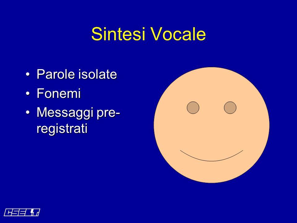 Parole isolateParole isolate FonemiFonemi Messaggi pre- registratiMessaggi pre- registrati Sintesi Vocale