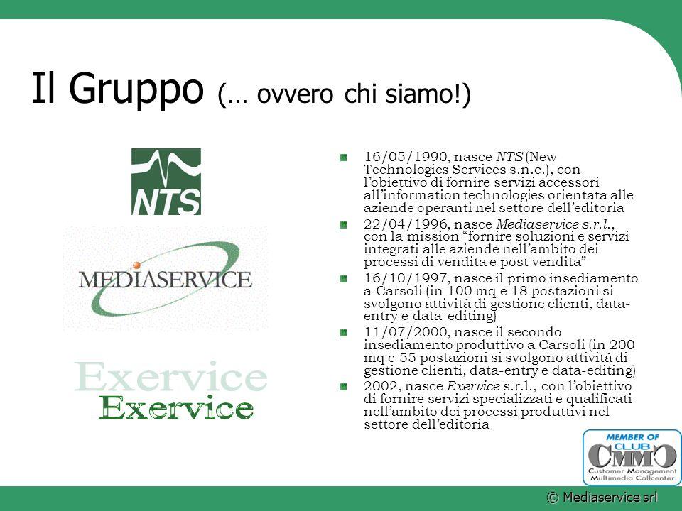 © Mediaservice srl Il Gruppo (… ovvero chi siamo!) 16/05/1990, nasce NTS (New Technologies Services s.n.c.), con lobiettivo di fornire servizi accesso