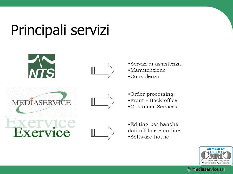 © Mediaservice srl Principali servizi Servizi di assistenza Manutenzione Consulenza Order processing Front - Back office Customer Services Editing per
