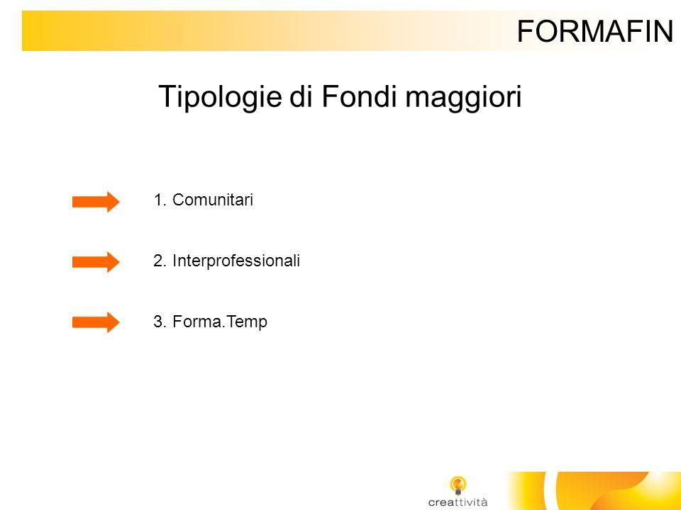 FORMAFIN Tipologie di Fondi maggiori 1. Comunitari 2. Interprofessionali 3. Forma.Temp