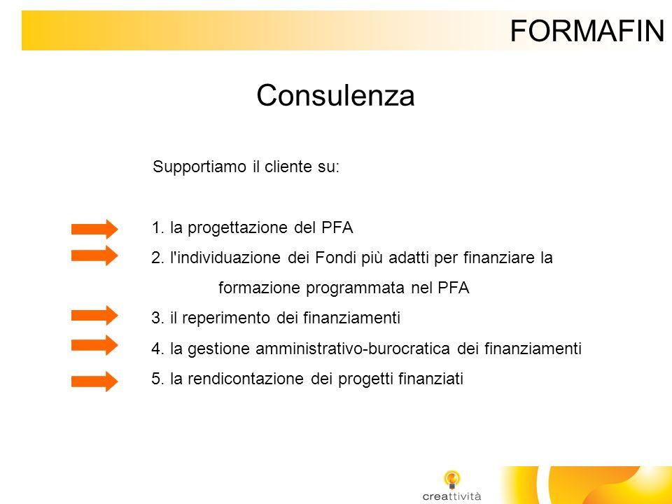 FORMAFIN Consulenza Supportiamo il cliente su: 1. la progettazione del PFA 2. l'individuazione dei Fondi più adatti per finanziare la formazione progr