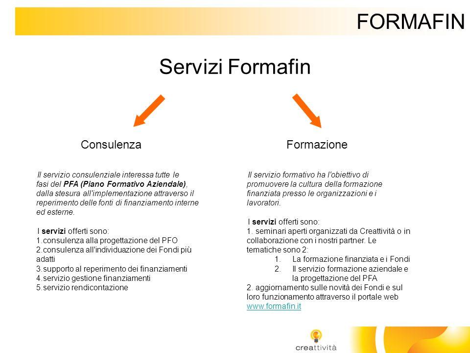 FORMAFIN Servizi Formafin ConsulenzaFormazione Il servizio consulenziale interessa tutte le fasi del PFA (Piano Formativo Aziendale), dalla stesura al