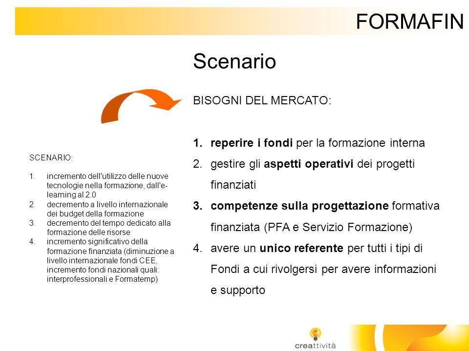 FORMAFIN Scenario BISOGNI DEL MERCATO: 1.reperire i fondi per la formazione interna 2.gestire gli aspetti operativi dei progetti finanziati 3.competen