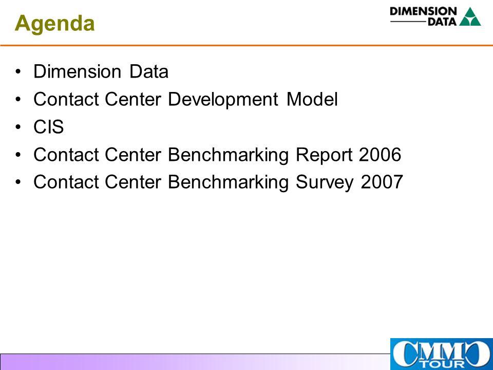 Agenda Dimension Data Contact Center Development Model CIS Contact Center Benchmarking Report 2006 Contact Center Benchmarking Survey 2007