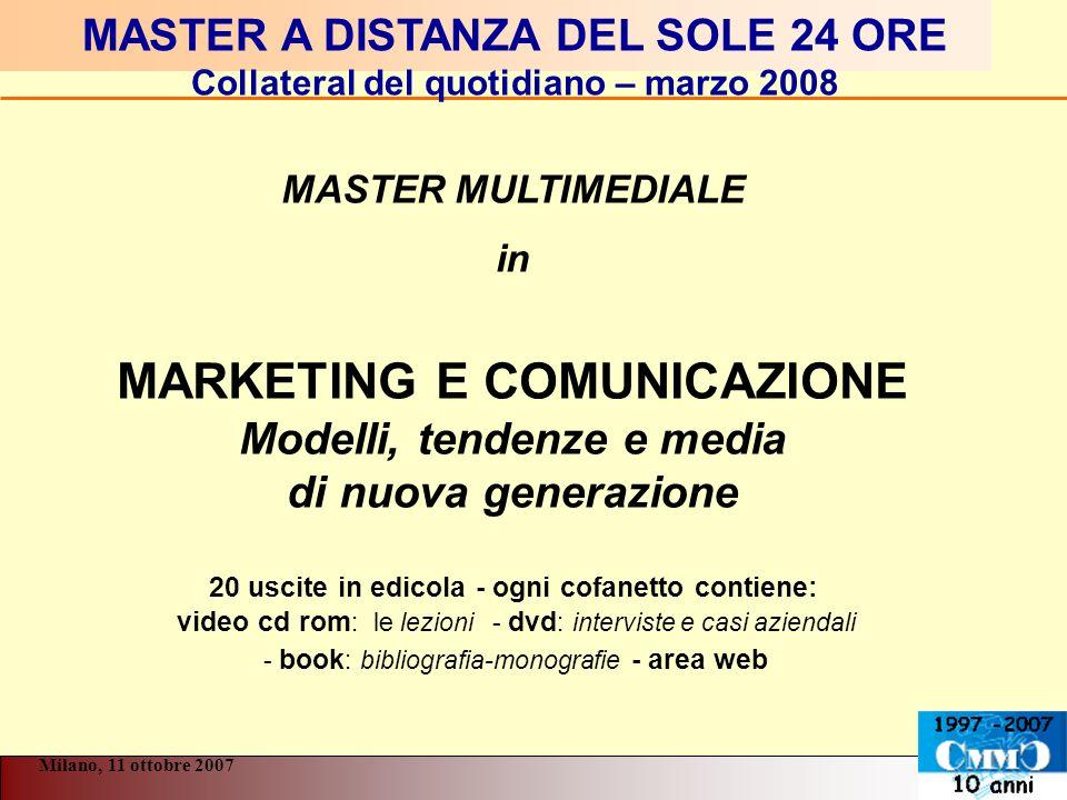 MASTER A DISTANZA DEL SOLE 24 ORE Collateral del quotidiano – marzo 2008 MASTER MULTIMEDIALE in MARKETING E COMUNICAZIONE Modelli, tendenze e media di