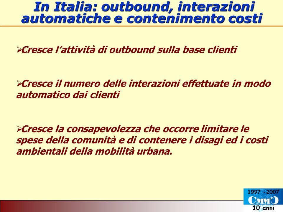 In Italia: outbound, interazioni automatiche e contenimento costi In Italia: outbound, interazioni automatiche e contenimento costi Cresce lattività d
