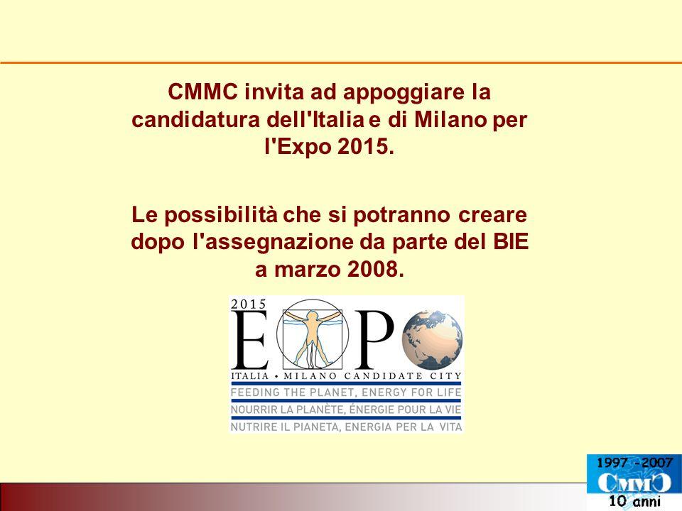 CMMC invita ad appoggiare la candidatura dell'Italia e di Milano per l'Expo 2015. Le possibilità che si potranno creare dopo l'assegnazione da parte d