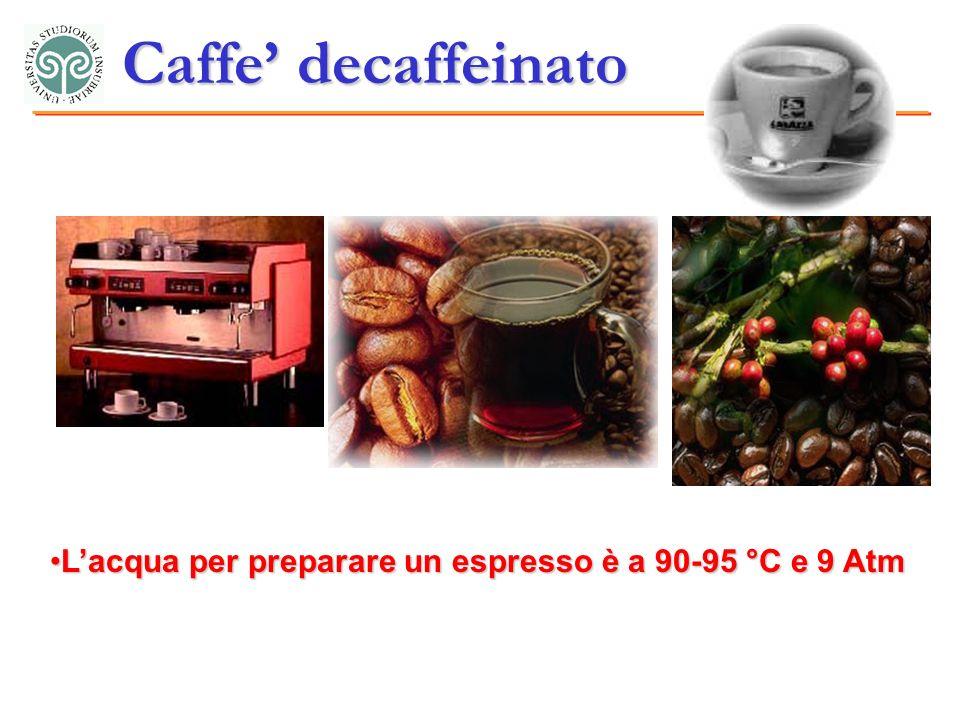 Lacqua per preparare un espresso è a 90-95 °C e 9 AtmLacqua per preparare un espresso è a 90-95 °C e 9 Atm Caffe decaffeinato