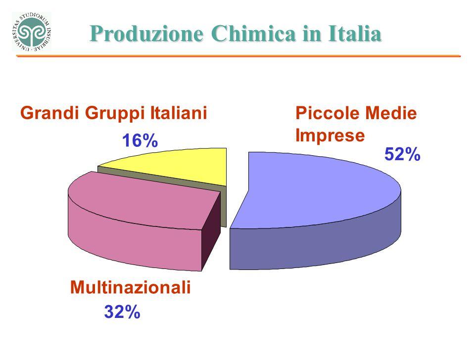 Piccole Medie Imprese 52% Multinazionali 32% Grandi Gruppi Italiani 16% Produzione Chimica in Italia