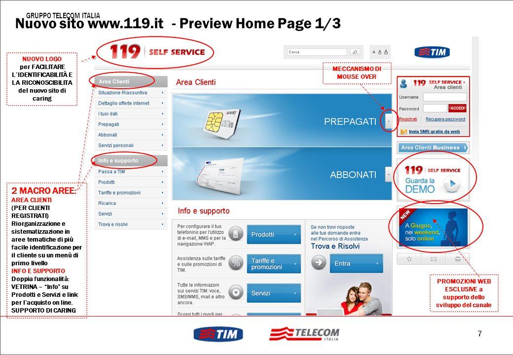 6 GRUPPO TELECOM ITALIA Evoluzione Web Canale prevalentemente informativo … …a canale dispositivo in grado di soddisfare le principali esigenze del cl