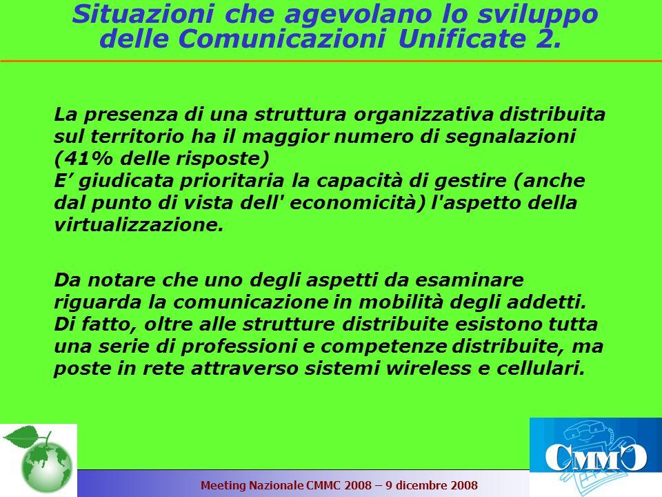 Meeting Nazionale CMMC 2008 – 9 dicembre 2008 Situazioni che agevolano lo sviluppo delle Comunicazioni Unificate 2.