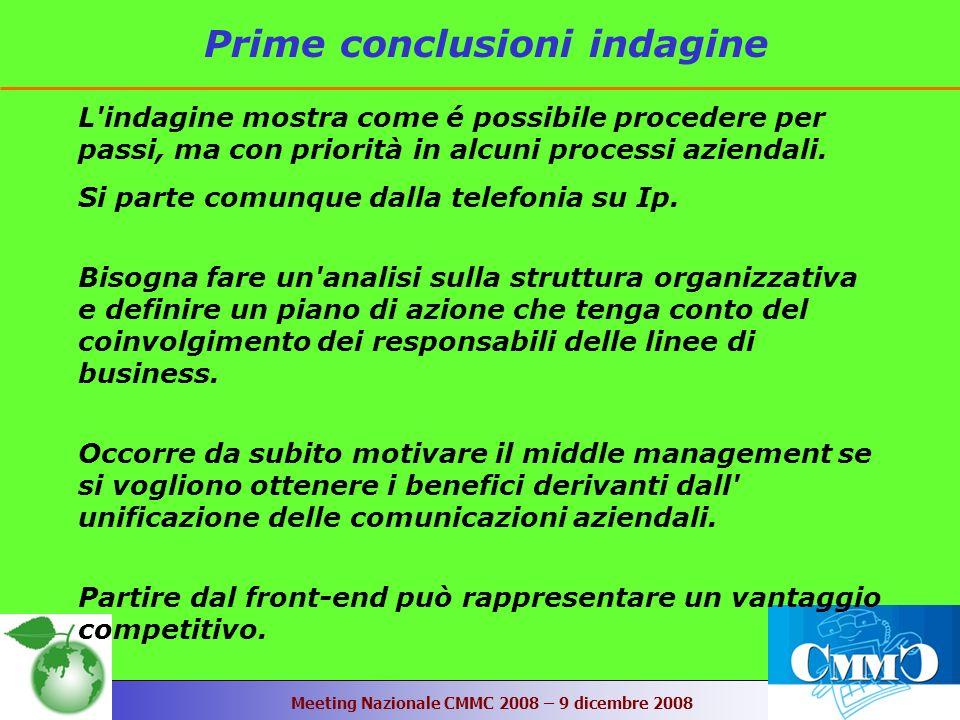 Meeting Nazionale CMMC 2008 – 9 dicembre 2008 Prime conclusioni indagine L indagine mostra come é possibile procedere per passi, ma con priorità in alcuni processi aziendali.