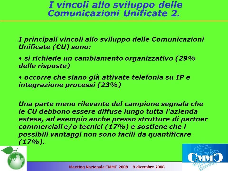 Meeting Nazionale CMMC 2008 – 9 dicembre 2008 I vincoli allo sviluppo delle Comunicazioni Unificate 2.