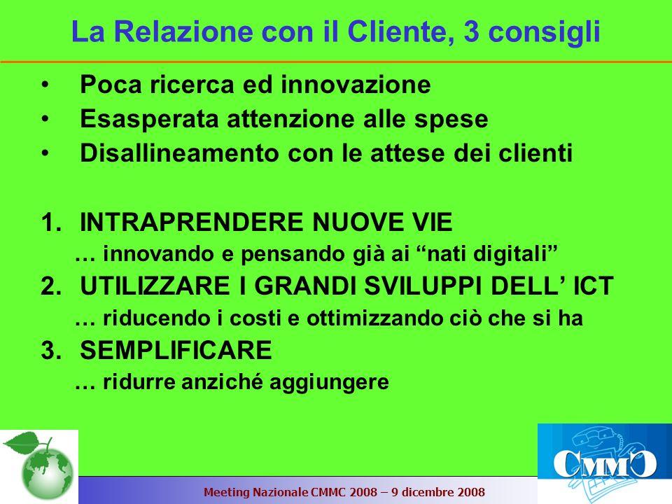 Meeting Nazionale CMMC 2008 – 9 dicembre 2008 La Relazione con il Cliente, 3 consigli Poca ricerca ed innovazione Esasperata attenzione alle spese Disallineamento con le attese dei clienti 1.INTRAPRENDERE NUOVE VIE … innovando e pensando già ai nati digitali 2.UTILIZZARE I GRANDI SVILUPPI DELL ICT … riducendo i costi e ottimizzando ciò che si ha 3.SEMPLIFICARE … ridurre anziché aggiungere