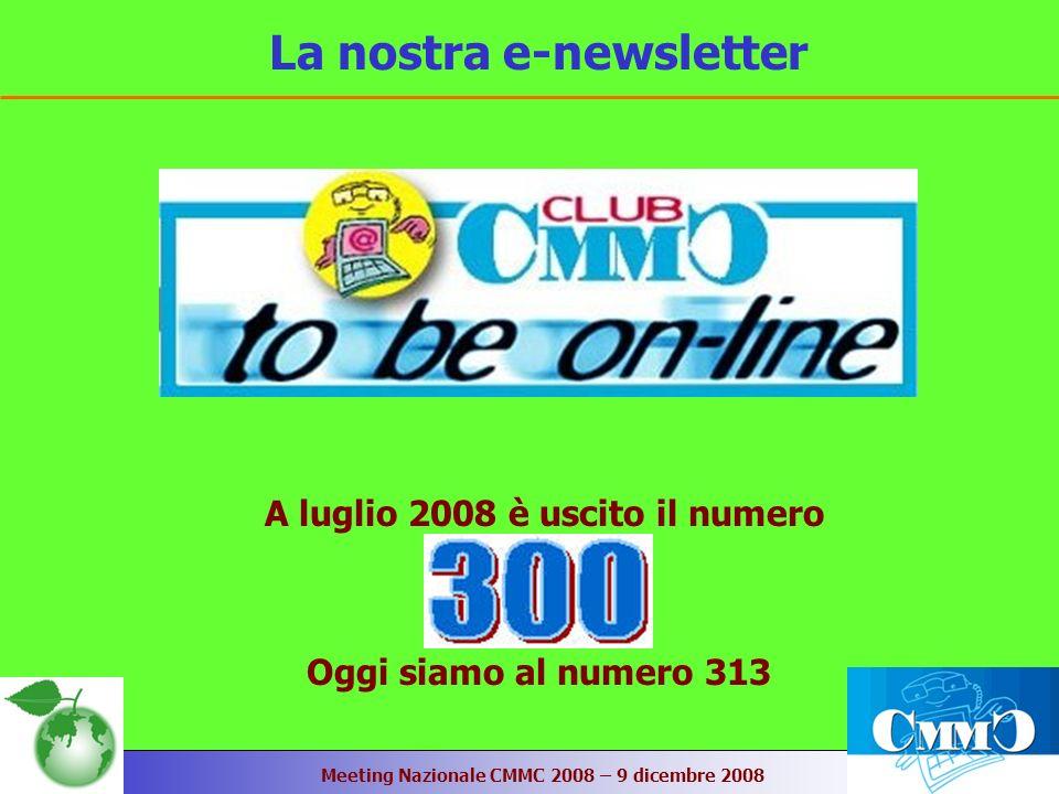 Meeting Nazionale CMMC 2008 – 9 dicembre 2008 La nostra e-newsletter A luglio 2008 è uscito il numero Oggi siamo al numero 313