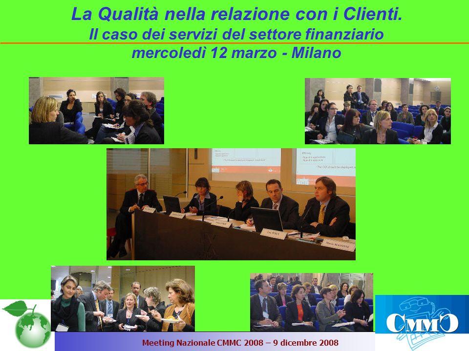 Meeting Nazionale CMMC 2008 – 9 dicembre 2008 La Qualità nella relazione con i Clienti.