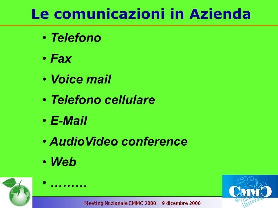 Meeting Nazionale CMMC 2008 – 9 dicembre 2008 Le comunicazioni in Azienda Telefono Fax Voice mail Telefono cellulare E-Mail AudioVideo conference Web ………