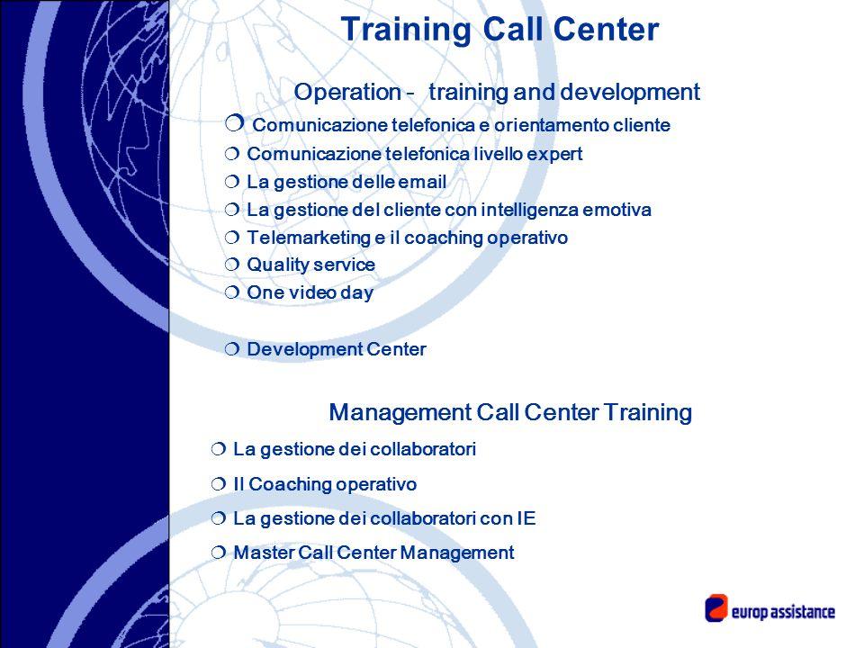 Training Call Center Operation - training and development Comunicazione telefonica e orientamento cliente Comunicazione telefonica livello expert La g