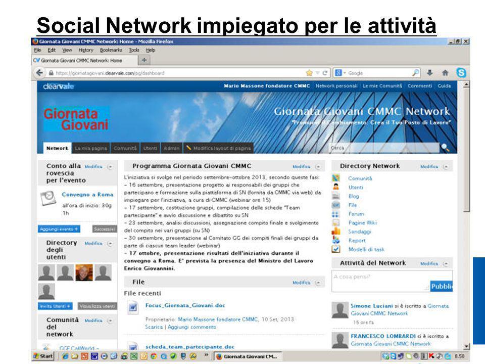 Social Network impiegato per le attività