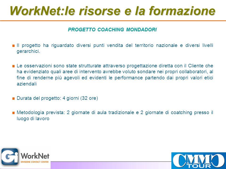 WorkNet:le risorse e la formazione Il progetto ha riguardato diversi punti vendita del territorio nazionale e diversi livelli gerarchici. Le osservazi