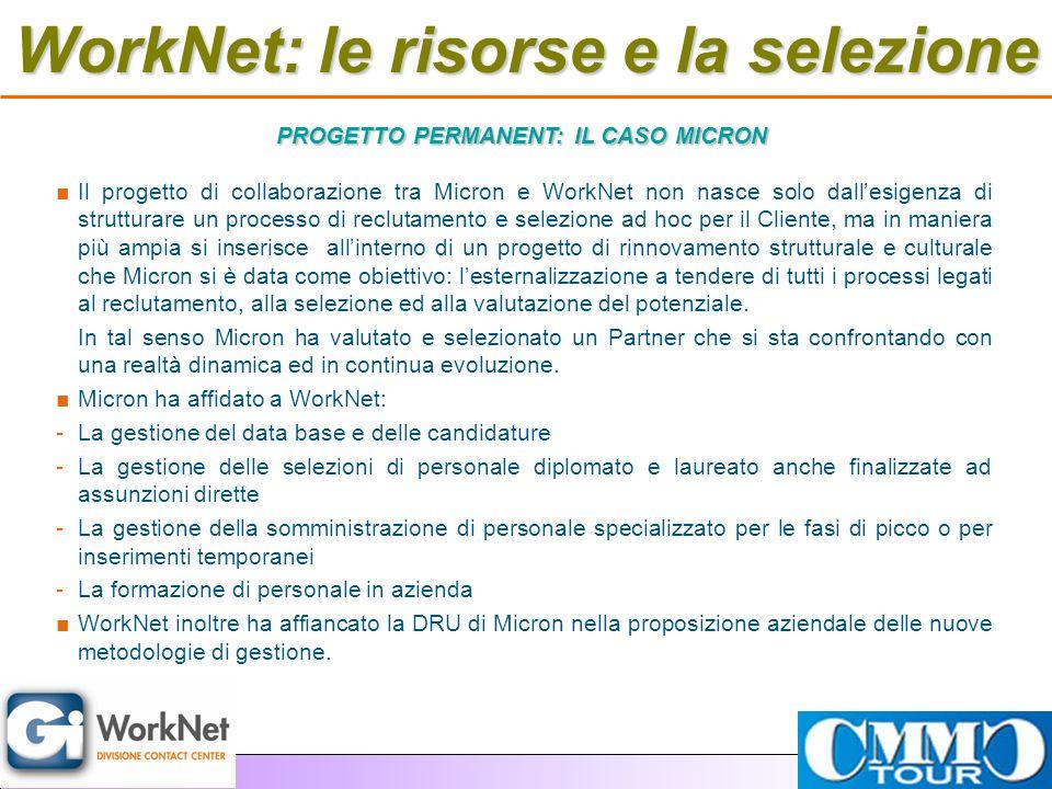 WorkNet: le risorse e la selezione Il progetto di collaborazione tra Micron e WorkNet non nasce solo dallesigenza di strutturare un processo di reclut