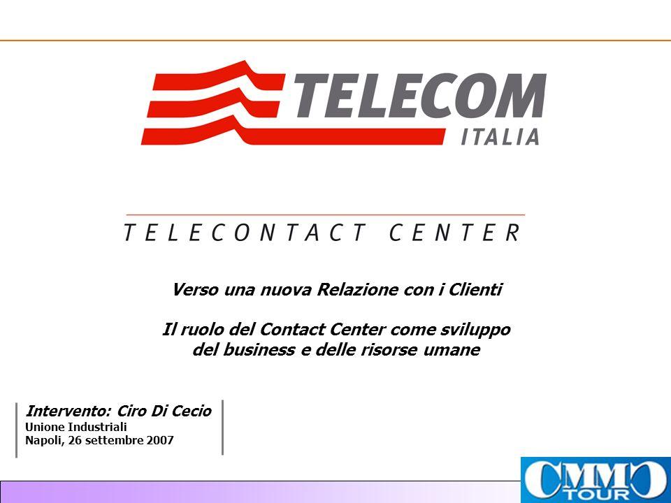 Intervento: Ciro Di Cecio Unione Industriali Napoli, 26 settembre 2007 Verso una nuova Relazione con i Clienti Il ruolo del Contact Center come sviluppo del business e delle risorse umane