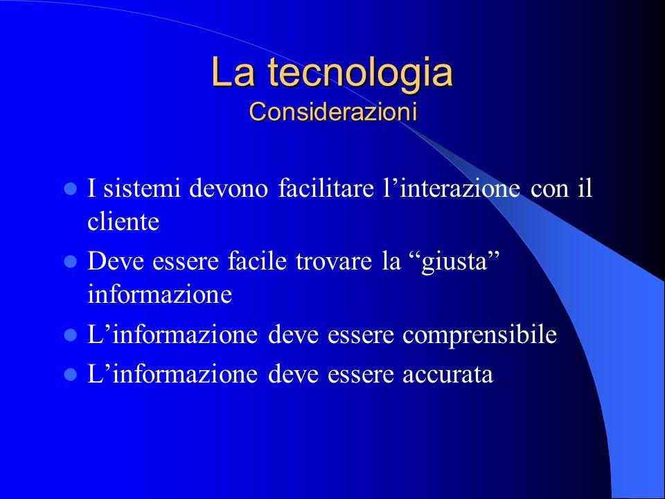 La tecnologia Considerazioni I sistemi devono facilitare linterazione con il cliente Deve essere facile trovare la giusta informazione Linformazione d