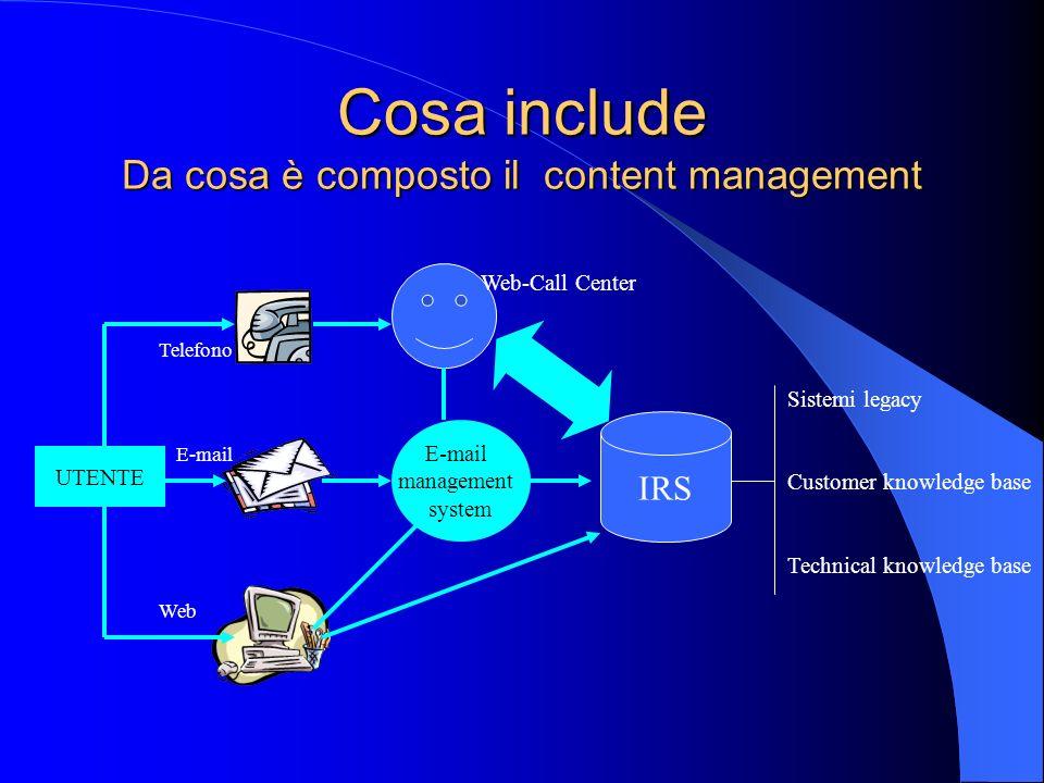 Cosa include Da cosa è composto il content management UTENTE Web E-mail Telefono E-mail management system IRS Web-Call Center Sistemi legacy Customer