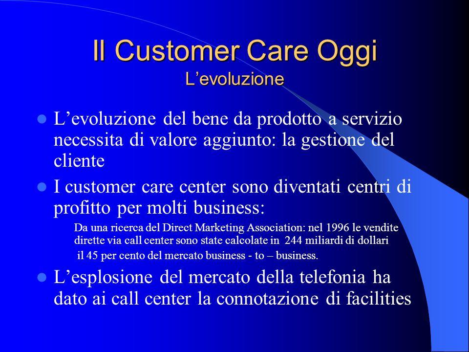 Il Customer Care Oggi Levoluzione Levoluzione del bene da prodotto a servizio necessita di valore aggiunto: la gestione del cliente I customer care ce